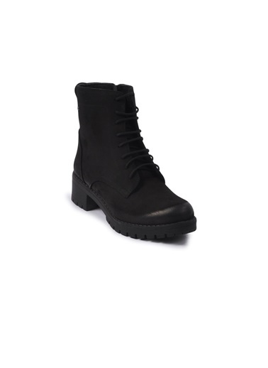 Castle Black 3680-2 Siyah Kadın Hakiki Deri Bot Siyah